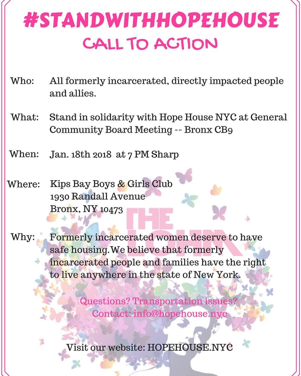 Stand with Hope House on January 18, 2018 at the Bronx Community Board 9 General Meeting!