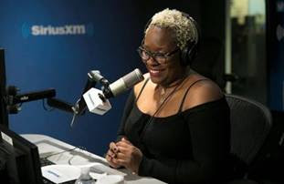 "Topeka K. Sam hosting ""Last Mile Second Chances"" radio show at the SiriusXM studio."